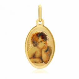 Médaille ovale en or jaune et résine, ange