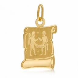 Médaille zodiaque en or jaune, gémeaux