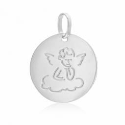 Médaille ronde en or gris, ange petit nuage
