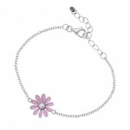 Bracelet en argent rhodié et laque fleur rose