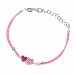 Bracelet cordon  en argent rhodié et laque, coeurs roses