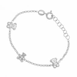 Bracelet en argent rhodié, oxydes de zirconium, petits ours