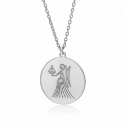 Collier en argent rhodié, zodiaque vierge