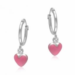 Boucles d'oreilles en argent rhodié et laque rose