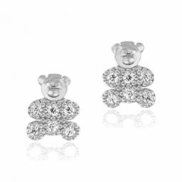 Boucles d'oreilles en  argent rhodié, oxydes de zirconium petit ours