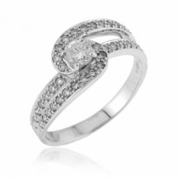 Bague en or gris, diamants