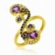 Bague en or jaune, diamants, améthystes et cordiérites - A