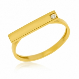 Bague en or jaune, diamant