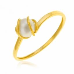 Bague en or jaune, perle de culture
