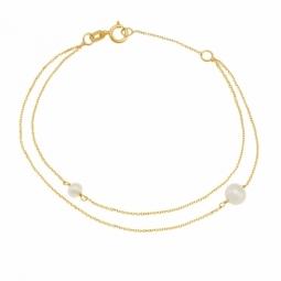 Bracelet en or jaune, perles de culture