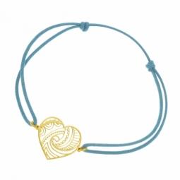 Bracelet cordon bleu turquoise en or jaune, coeur