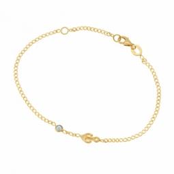 Bracelet en or jaune et oxyde de zirconium bleu, ancre