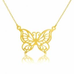 Collier en or jaune, papillon