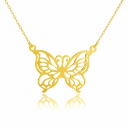 Collier en or jaune, papillon