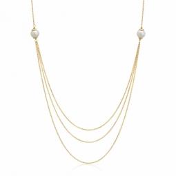 Collier en or jaune, perles de culture