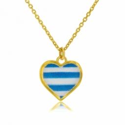Collier en or jaune et laque bleue et blanche, coeur