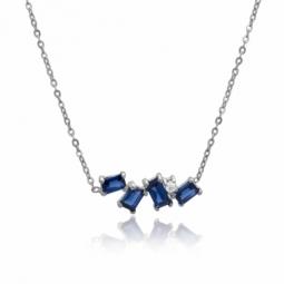 Collier en or gris, oxydes de zirconium bleus