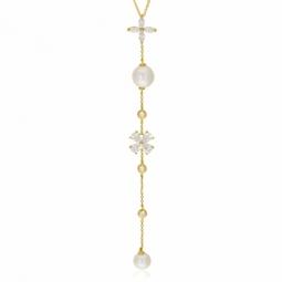 Collier en or jaune, oxydes de zirconium et perles de culture