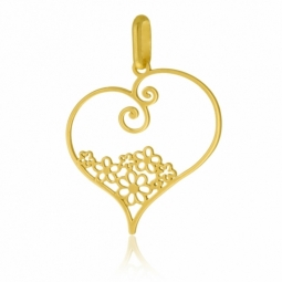 Pendentif en or jaune, coeur ajouré