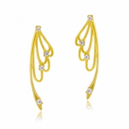 Boucles d'oreilles or jaune et oxydes de zirconium