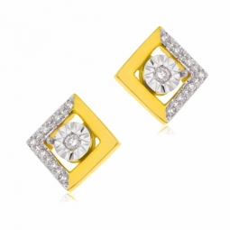 Boucles d'oreilles en 2 ors et diamants