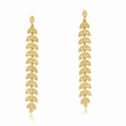 Boucles d'oreilles en or jaune et diamants