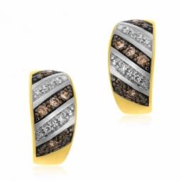 Boucles d'oreilles en or jaune rhodié, diamants blancs et bruns
