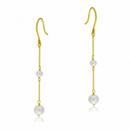 Boucles d'oreilles en or jaune, perles de culture