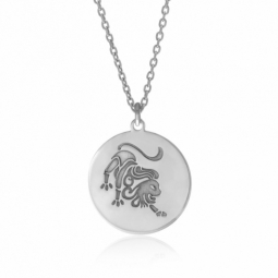 Collier en argent rhodié, zodiaque lion