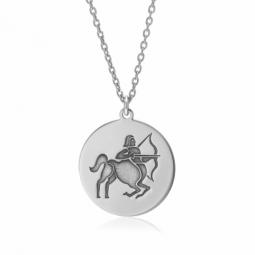 Collier en argent rhodié, zodiaque sagittaire