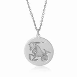 Collier en argent rhodié, zodiaque capricorne