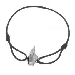 Signe de la chance, bracelet cordon en argent rhodié