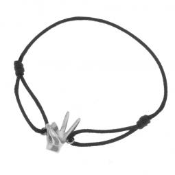 Bracelet cordon en argent rhodié, signe de la victoire
