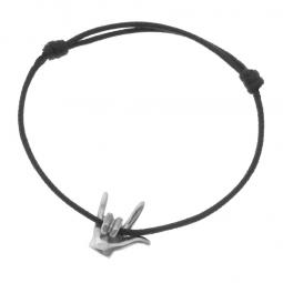 Bracelet cordon en argent rhodié, signe I love you