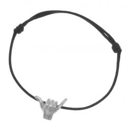 Bracelet cordon en argent rhodié, signe de l'aloha