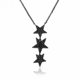 Collier en argent rhodié noir, oxydes de zirconium noirs