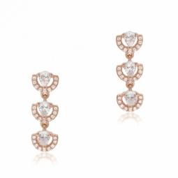 Boucles d'oreilles en argent doré rose, oxydes de zirconium