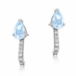 Boucles d'oreilles en or gris et oxydes de zirconium bleu et blancs