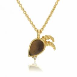Collier en plaqué or, oxydes de zirconium et verre, capricorne
