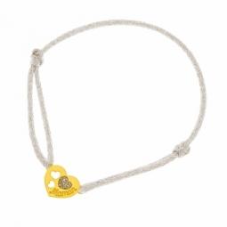 Bracelet cordon gris en or jaune et laque pailletée