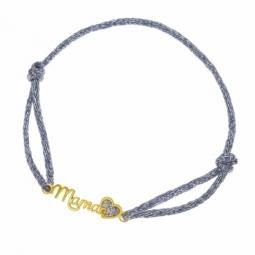 Bracelet cordon gris en or jaune et laque pailletée, maman coeur