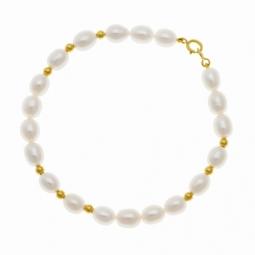 Bracelet en or jaune, perles de culture et boules or