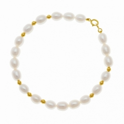 Bracelet en or jaune, perles de culture et boules or