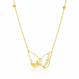 Collier en or jaune, papillon, maman