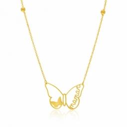 Collier en or jaune, papillon, maman