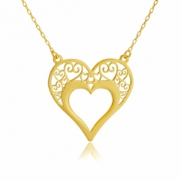 Collier en or jaune, coeur