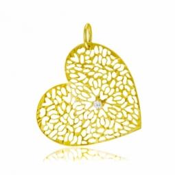 Pendentif en or jaune, oxyde, coeur