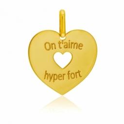 Pendentif en or jaune, coeurs, on t'aime hyper fort