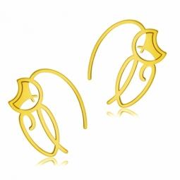 Boucles d'oreilles en or jaune, chat