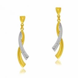 Boucles d'oreilles en or jaune et rhodié